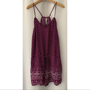 Skies are Blue Burgundy Boho Romper Size Small